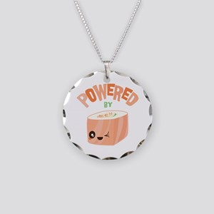 Powered by Salmon Sushi Necklace Circle Charm
