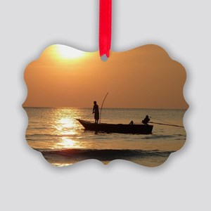 Fishing at Sunset Picture Ornament