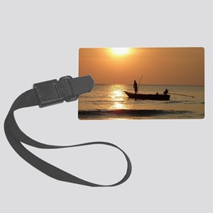 Fishing at Sunset Large Luggage Tag