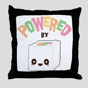 Powered by Sushi Throw Pillow