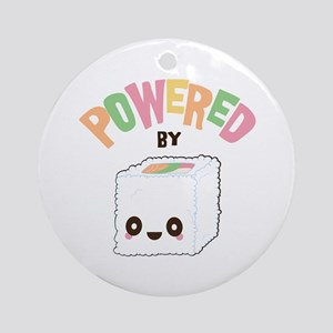 Powered by Sushi Round Ornament