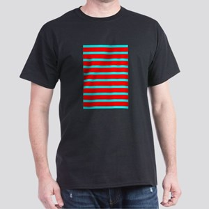 Turquoise Blue Red Stri Women's Cap Sleeve T-Shirt