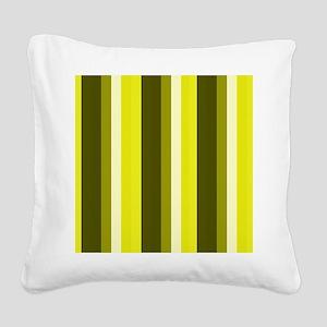 Green Hues Stripes Beach Feel Square Canvas Pillow