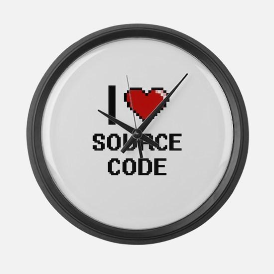 I love Source Code Digital Design Large Wall Clock