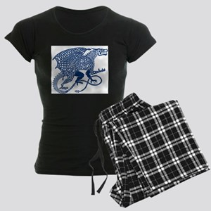 Celtic Knotwork Dragon, Blue Women's Dark Pajamas
