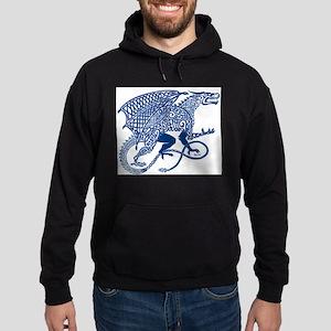 Celtic Knotwork Dragon, Blue Hoodie (dark)