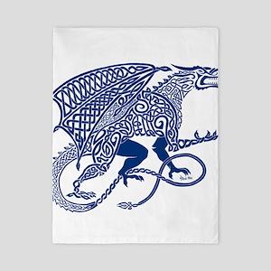 Celtic Knotwork Dragon, Blue Twin Duvet
