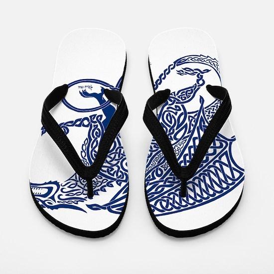 Celtic Knotwork Dragon, Blue Flip Flops