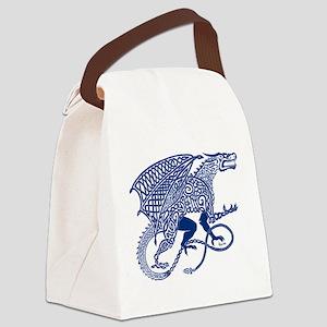 Celtic Knotwork Dragon, Blue Canvas Lunch Bag