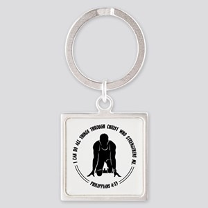PHIL.4:13 - RUN Square Keychain
