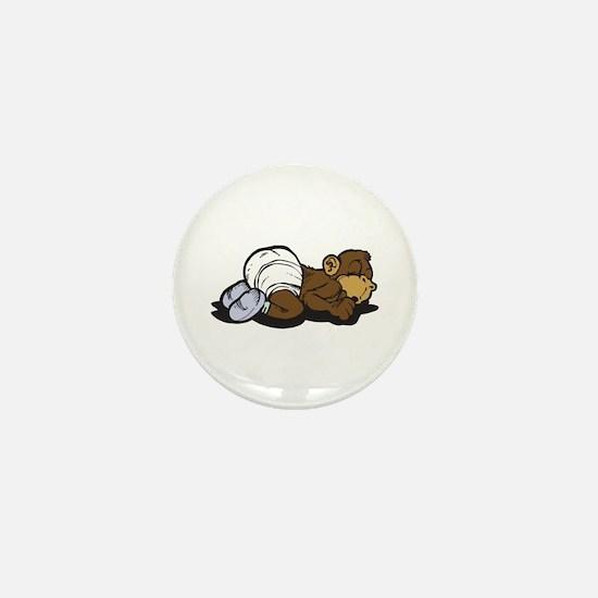 Cute Sleeping Baby Monkey Mini Button