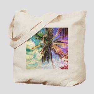 Abstract Rainbow Palm Tree Tote Bag