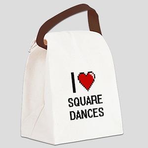 I love Square Dances Digital Desi Canvas Lunch Bag