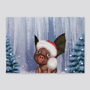 Christmas, cute little piglet with christmas hat 5