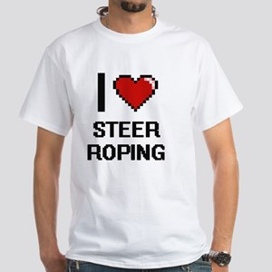 I Love Steer Roping Digital Design T-Shirt