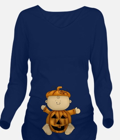 Pumpkin Baby-Long Sleeve Maternity T-Shirt