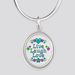 Live Laugh Love Silver Oval Necklace