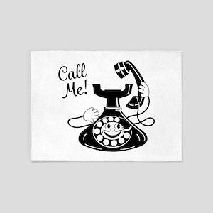 Vintage Telephone 5'x7'Area Rug