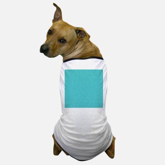 Aqua Blue Polka Dot Swirl Waves Dog T-Shirt