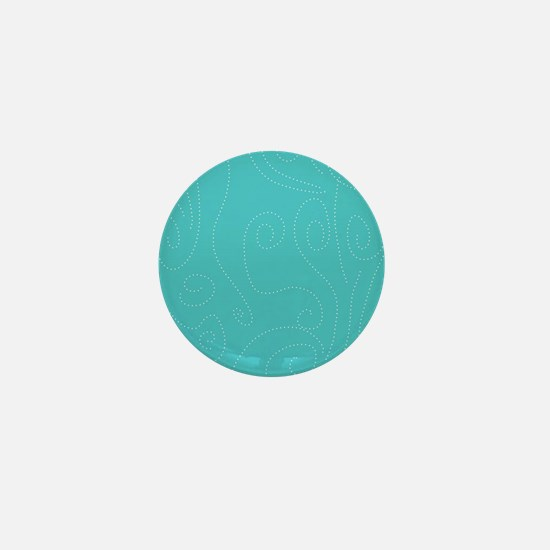 Aqua Blue Polka Dot Swirl Waves Mini Button