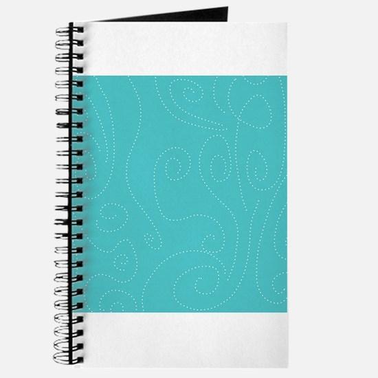 Aqua Blue Polka Dot Swirl Waves Journal
