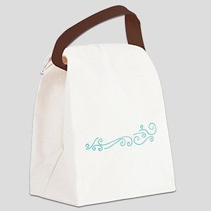 Aqua Blue Swirl Waves Canvas Lunch Bag