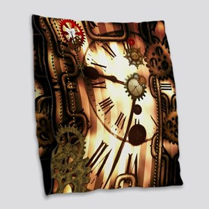 Steampunk, clocks and gears, vintage design Burlap