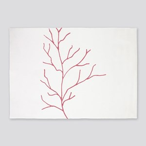 Tropical Coral Foilage Illustration 5'x7'Area Rug