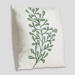 Tropical Leaves Illustration Burlap Throw Pillow