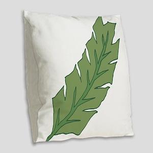 Tropical Leaf Illustration Burlap Throw Pillow