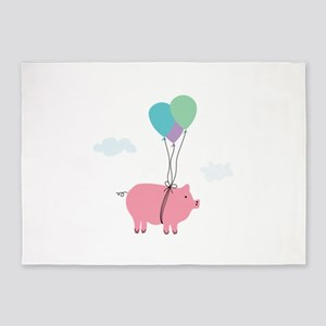 When Pigs Can Fly Illustration 5'x7'Area Rug