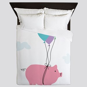 When Pigs Can Fly Illustration Queen Duvet