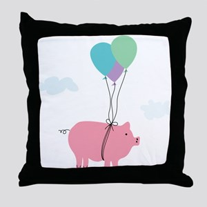 When Pigs Can Fly Illustration Throw Pillow