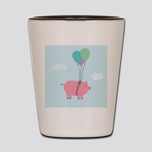 Blue Sky When Pigs Can Fly Illustration Shot Glass