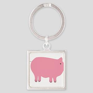 Pink Pig Silhouette Illustration Keychains