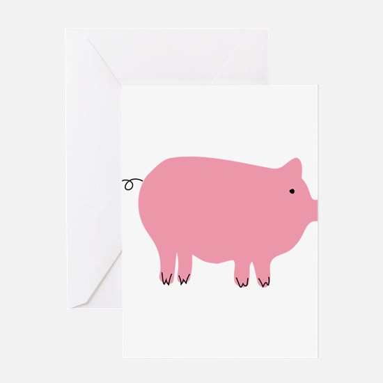 Pink Pig Silhouette Illustration Greeting Cards