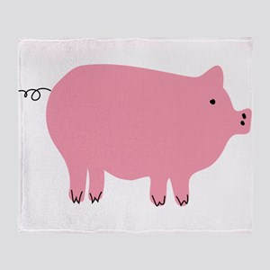 Pink Pig Silhouette Illustration Throw Blanket