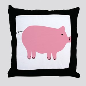 Pink Pig Silhouette Illustration Throw Pillow