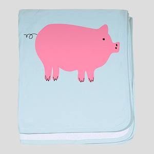 Pink Pig Silhouette Illustration baby blanket