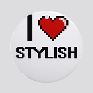I love Stylish Digital Design Round Ornament