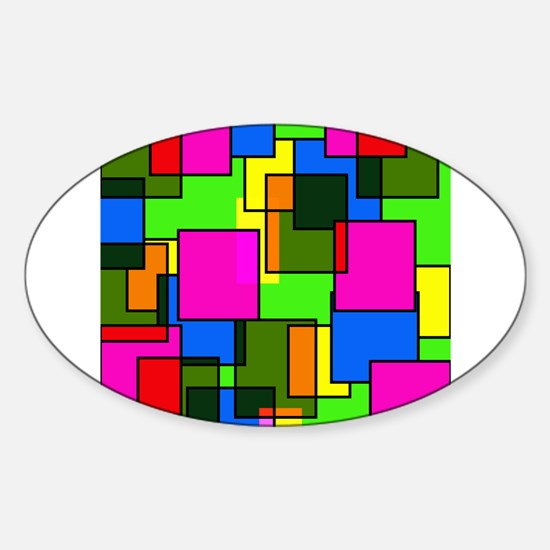 Pattern Squares Pink Blue Green Retro Decal