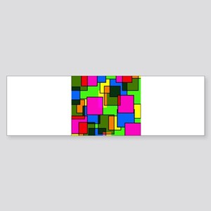 Pattern Squares Pink Blue Green Ret Bumper Sticker
