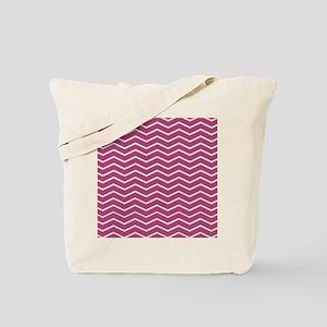 Modern Chic Magenta Pink White Chevron Tote Bag