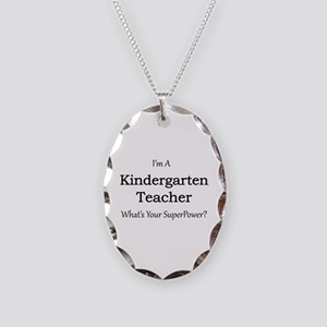 Kindergarten Teacher Necklace Oval Charm