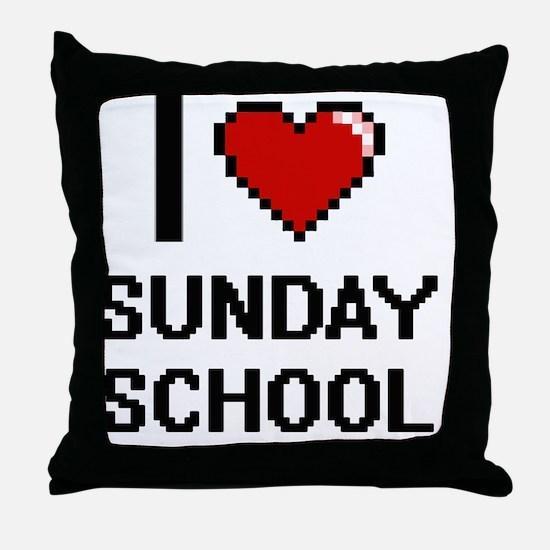 I love Sunday School Digital Design Throw Pillow