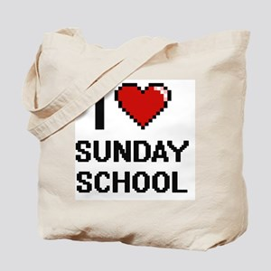 I love Sunday School Digital Design Tote Bag