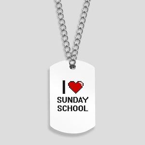 I love Sunday School Digital Design Dog Tags