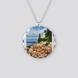 Bass Harbor Acadia National Necklace Circle Charm