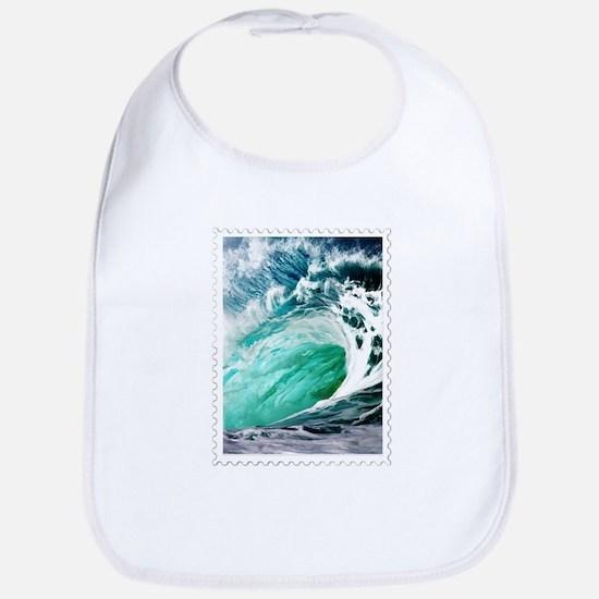 Big Ocean Wave Stamp Bib
