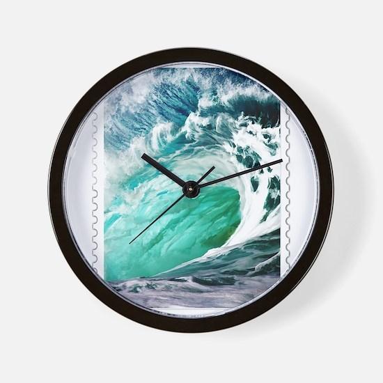 Big Ocean Wave Stamp Wall Clock